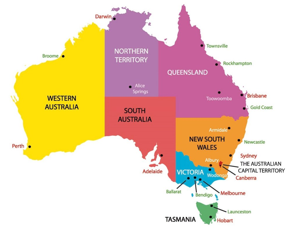 Australia Map with state and Cities